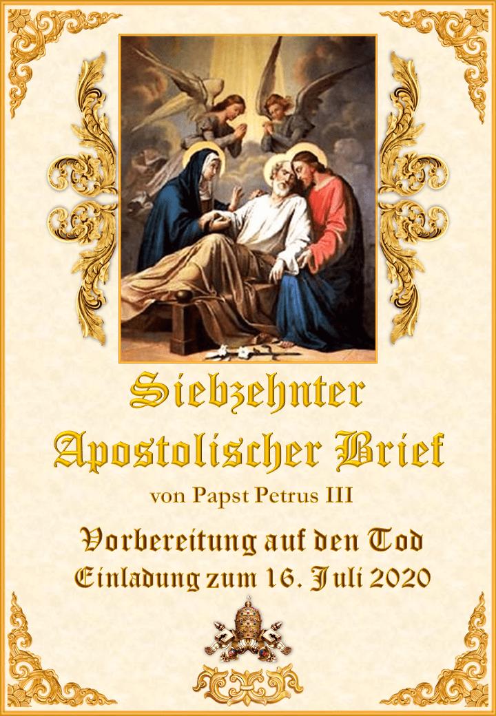 """<a href=""""https://www.palmarianischekirche.org/wp-content/uploads/2020/03/Siebzehnter-Apostolischer-Brief-Papst-Petrus-III-Deutsch.pdf"""" title=""""Siebzehnter Apostolischer Brief von Papst Petrus III""""><i>Siebzehnter Apostolischer Brief von Papst Petrus III<br><br>Mehr</i></a>"""