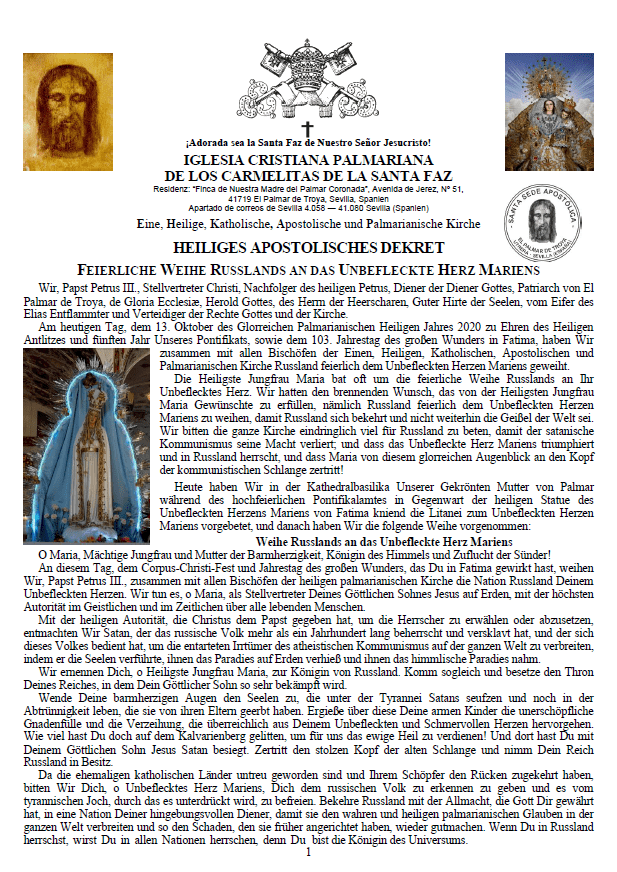 Heiliges Apostolisches Dekret Feierliche Weihe Russlands an Das Unbefleckte Herz Mariens<br><br>Mehr</i></a>